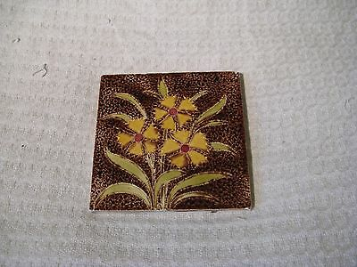 Antique Victorian Relief Moulded Fireplace Tile - Yellow & Brown Floral Design