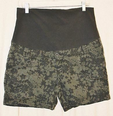 Thyme Womens L Maternity Shorts Fold Over Stretch Waistband Khaki Green Floral