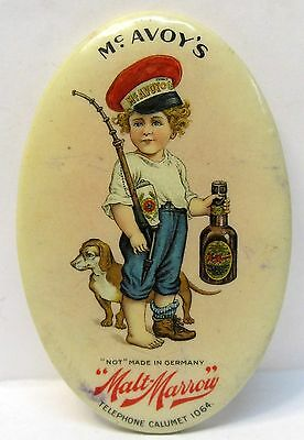 rare c.1915 Mc AVOY'S MALT MARROW pre-prohibition BEER celluloid pocket mirror *