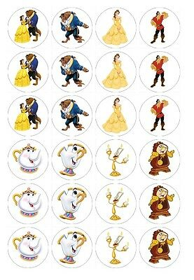 24 x Beauty and the beast Edible Image Cupcake Toppers Pre-Cut