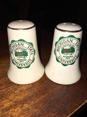 Vintage Michigan State University Salt and Pepper Shakers
