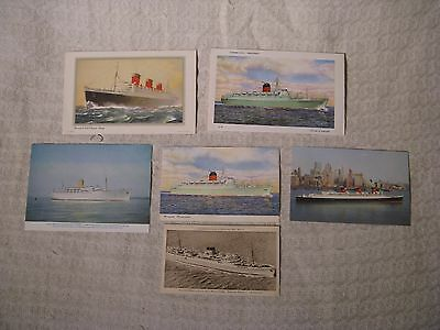 6 x Photo Postcards Letter Cards of Cruise Ships - Cunard Franconia Queen Mary