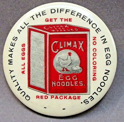 circa 1915 CLIMAX EGG NOODLES advertising celluloid pocket mirror *