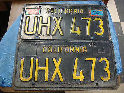 California License Plate 1963 Black Yellow Front and Back UHX473 mustang shelby