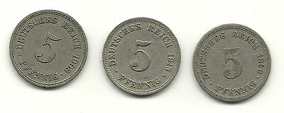 Lot of (3) 5 Pfennig 1899D, 1913D, 1908F