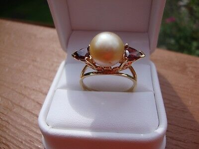 14kt YELLOW GOLD CUSTOM MADE PEARL AND TRILLION GARNET RING