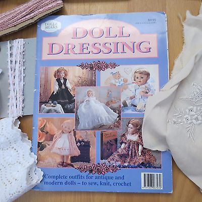 Mixed lot of trims patterns & fabric suitable for making doll clothes