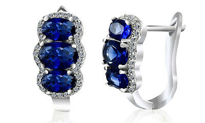 NEW 5.22 CTTW Sapphire and Diamond Earrings in 18K White Gold Plating $199.99