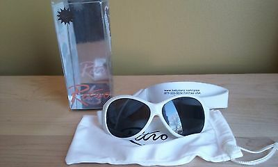 Retro Baby Banz White Adjustable Sunglasses with pouch and box