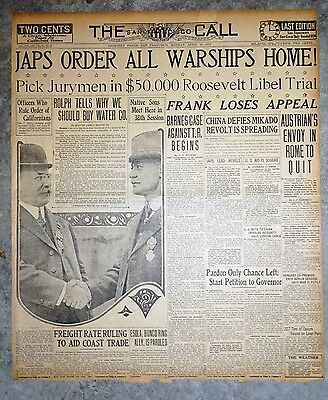 1915 Newspaper Front Page  - Leo Frank Loses Supreme Court Appeal