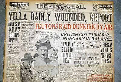 1915 Newspaper Front Page  - Pancho Villa Seriously Wounded - Mexican Revolution