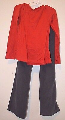 Old Navy Outfit Size 8 Girls Red Long Sleeve Top Black Velour Sweats