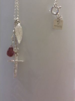 By charlotte ,silver sacred x & ruby n/lace 46cm length ( inc free earrings )