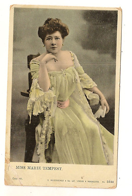 FAMOUS PERSON POSTCARD-TINTED:  MISS MARIE TEMPEST. ENGLAND w/STAMP 1905