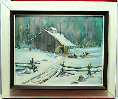 Vintage Framed Oil On Board Painting - Horse and Sleigh By Cabin - G. McLeod
