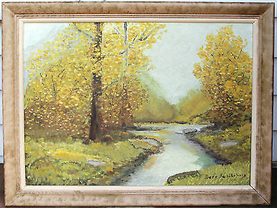"Vintage Framed Oil Painting - Yellow Autumn Landscape - Signed ""Bert Schilchuis"""