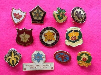 Collectors BARGAIN (11) ORCHID Australian CLUBS Society BADGES PINS ..FREE POST