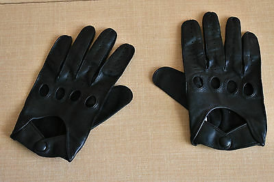COACH Glove Leather Driving Gloves Black XL-EXTRA LARGE Sized Snap Wrist