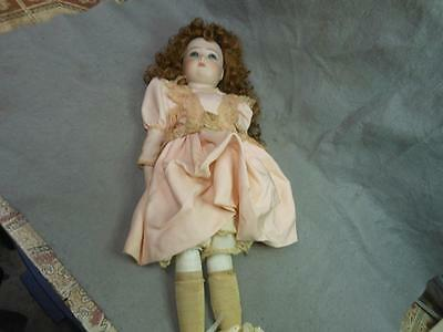 """Vintage Bisque Doll 21 Inch Marked """"1984 P""""  Curly Hair Painted Eyes"""