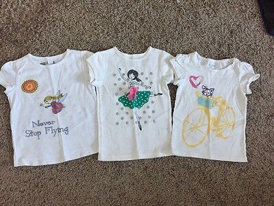 Lot Of 3 Girls Tee Shirts Crazy 8, Baby Gap, Carters Sz 4