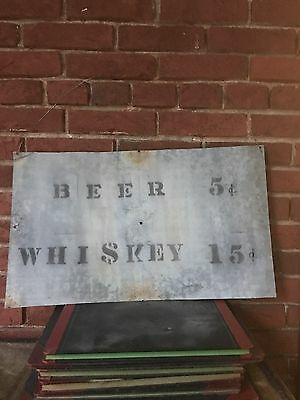 Vintage Handmade Metal Beer Whiskey Sign