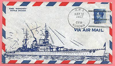1937 Great Britain Naval Cover Hms Renown Cancel
