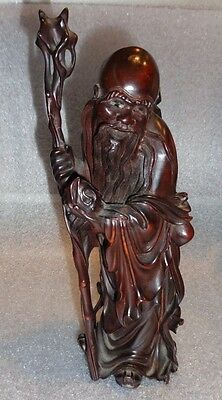 very fine antique Chinese carved rosewood sage figure