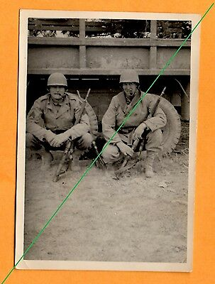 Vtg 1940's PHOTO WWII US Army Soldier with rifles M1 Garand 6x6 2 1/2 Ton  Truck