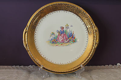 "Taylor Smith Taylor Eastern China 22K Gold 12"" Cake Platter"