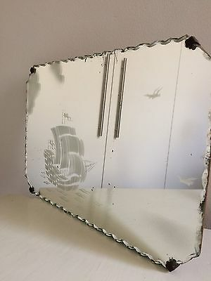 Vintage Art Deco Mirror with Sailing Ship Scene