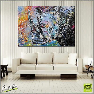 Textured Urban Art Colourful Rhino Painting Canvas 140cmx100cm Franko Australia
