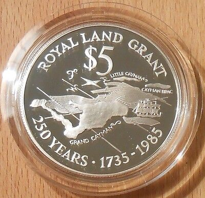 1985 Cayman Islands Proof Commemorative Coin Royal Land Grant