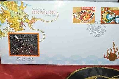 Singapore Year of the Dragon FDC with Pewter Stamp Ltd Ed 1433 of 6000