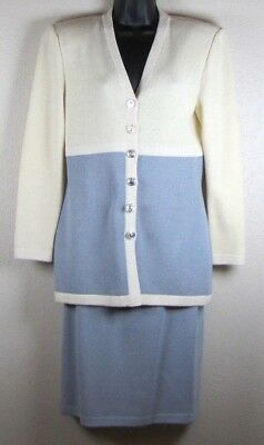 St John Collection Marie Gray Santana Vintage Suit Cream Gray Jacket P Skirt 4