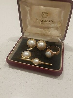 14k and 9k Solid Gold Natural Pearl jewellery Set Bargain!!