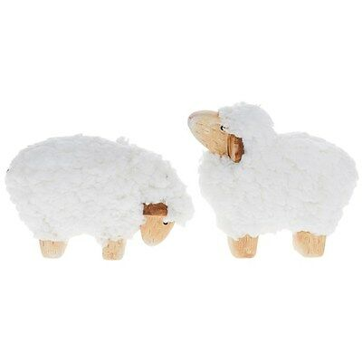 New Set Of 2 Soft Wool Sheep - Country Sheep Decorations - 12Cm