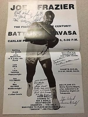 Signed JOE FRAZIER Boxing Poster 1975 Very Rare