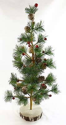 """18"""" (45 cm) VINTAGE TABLE TOP CHRISTMAS TREE WITH BERRIES AND PINE CONES, VGC"""