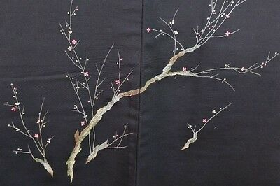 Vintage Japanese Black Silk Wedding Haori Eve Jacket 'Delicate Plum Branch' M/L