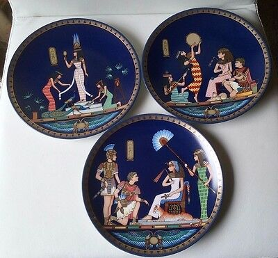Osiris Porcelain Collector Plates x 3 - Cleopatra, Queen of Ancient Egypt Series