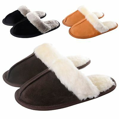 Ladies Julia Real Suede Leather Womens Slippers Non Slip Sole Soft Plush Lining