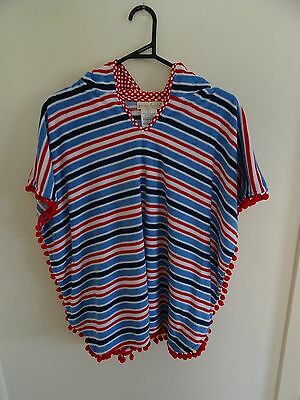Young Hearts by Collette Dinnigan Girls Blue Red & White Beach Poncho - Size M