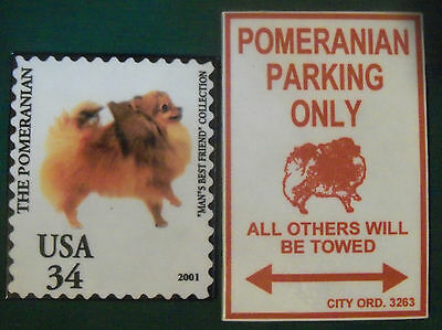 Two Cute Pomeranian Magnets ~ ~ Free Shipping!