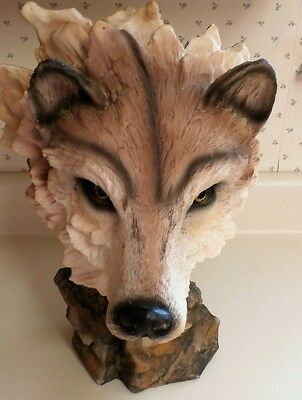 "Wolf Head  Bust,12 "" Tall, 14"" Wide, Resin"
