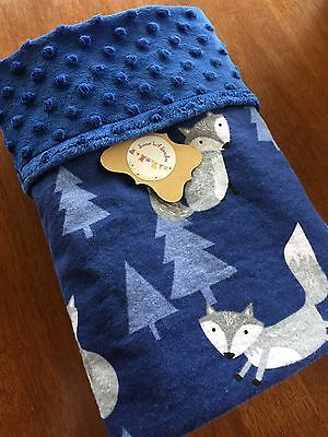 Handmade Baby Blanket Blue With Grey Foxes/Blue Minky Dot