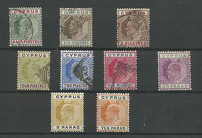 Cyprus 1904-10 short set to 9pi SG60/61/62/63/64/65/66/67/68 (Mint and Used)