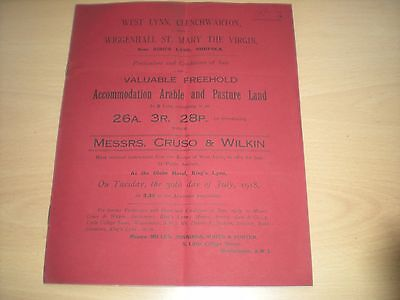 Particulars/ PLAN & Conditions Of Sale Of Freehold Accommodation et.Norfolk 1918