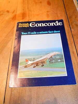 British Airways - Concorde - Your 23 Mile A Minute Fact Sheet - Brochure