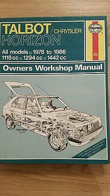 Talbot Horizon 1978 To 1986 Haynes Workshop Manual 473 Good Condition For Age