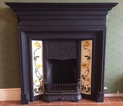 Black Cast Iron Tiled Fireplace